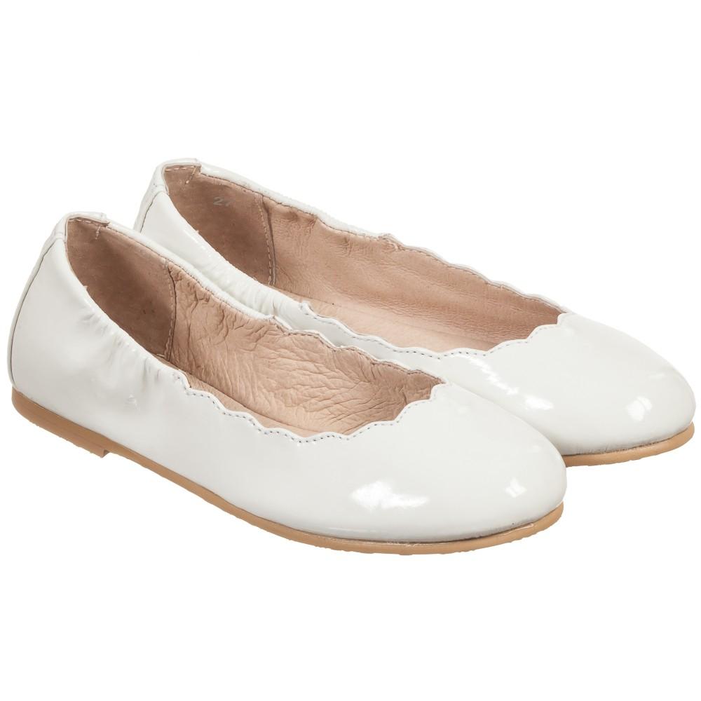 bloch white patent leather scallop ballerina