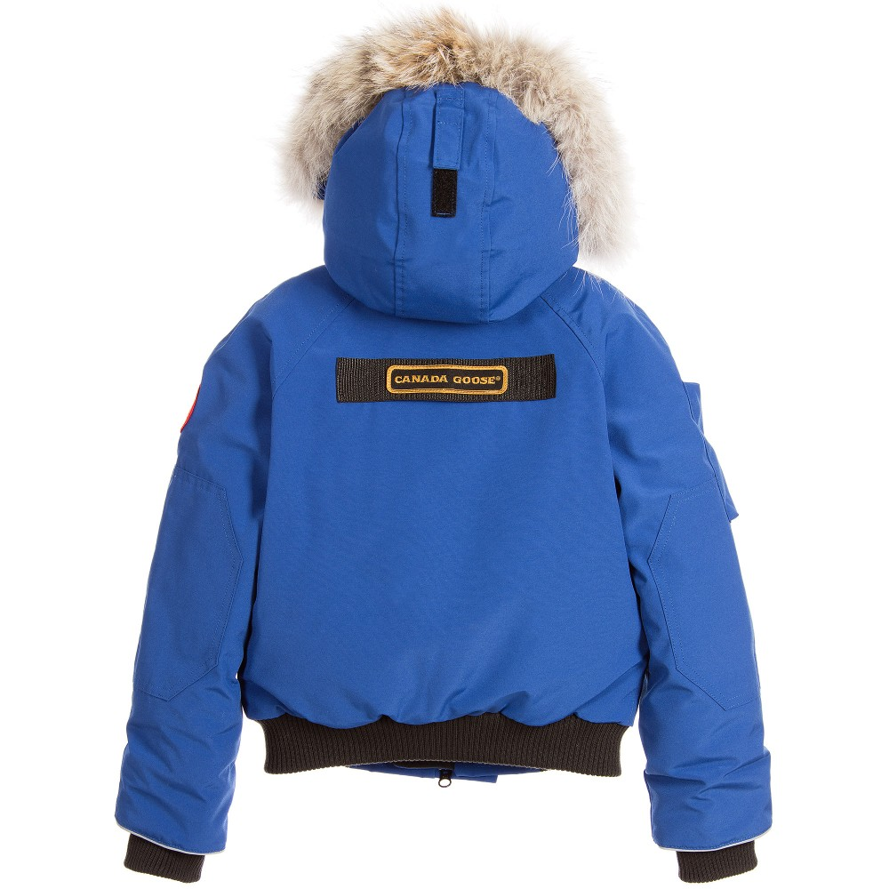 Canada Goose parka online store - Canada Goose - Blue 'Rundle Bomber' Down Padded Jacket | Childrensalon
