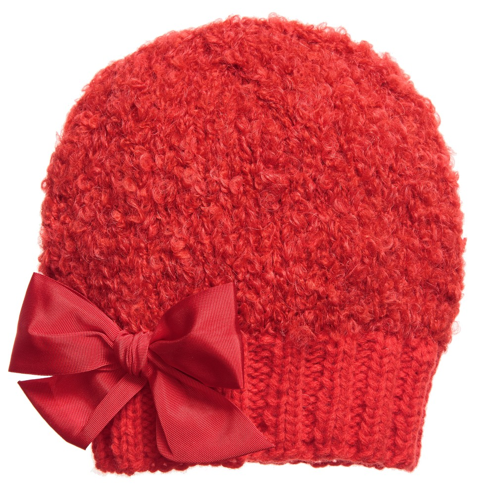 Knitting Pattern For Mohair Hat : Grevi - Girls Red Mohair Knitted Hat Childrensalon