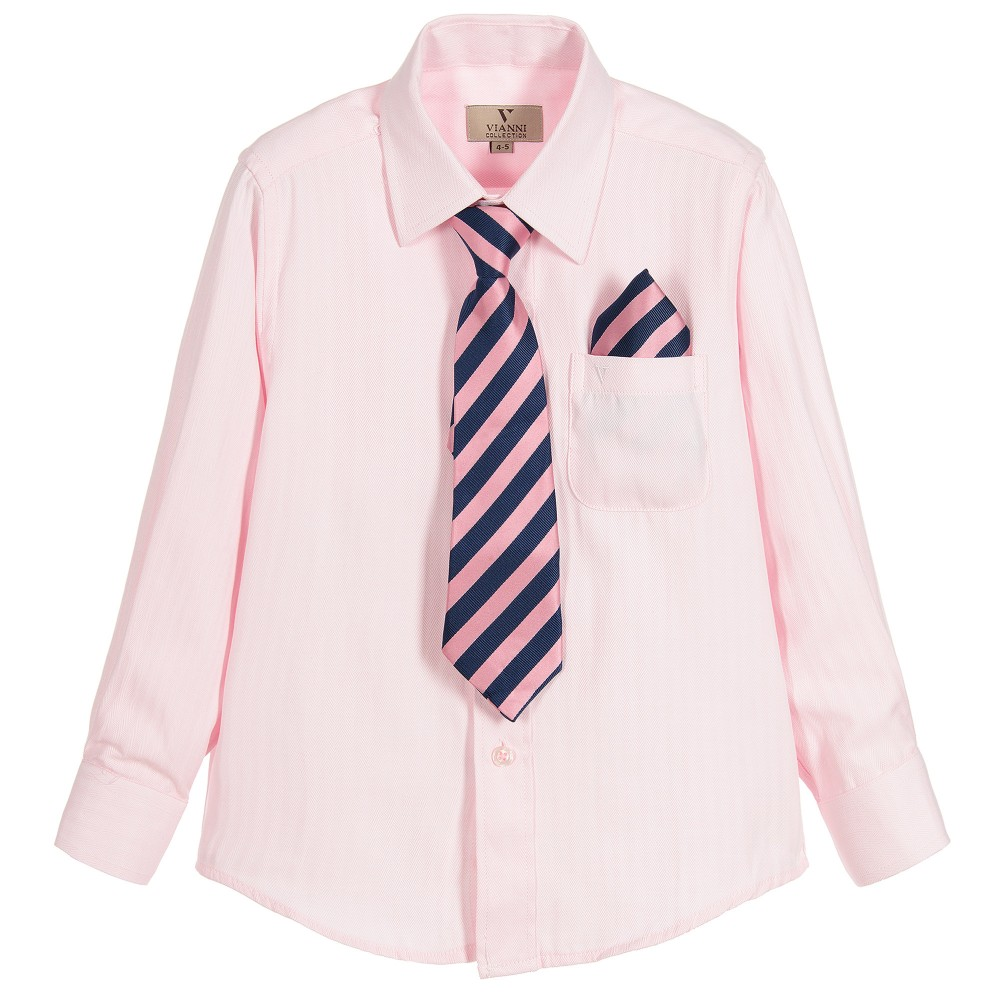 Romano Boys Pink Shirt Pocket Square Tie Childrensalon