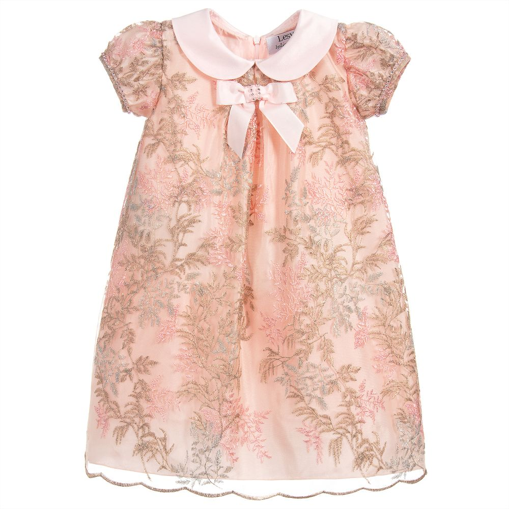 Lesy - Pink & Gold Embroidered Dress | Childrensalon
