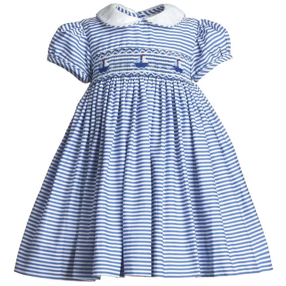 Annafie - Baby Girls Blue Hand-Smocked Dress | Childrensalon