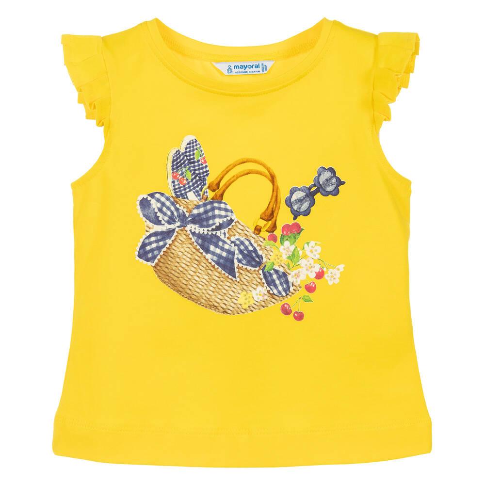 88ff29d5e7aa42 Mayoral - Girls Yellow Cotton T-Shirt
