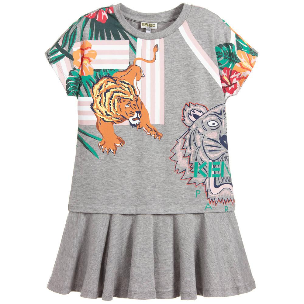 0b59d43f7 Kenzo Kids - Girls Grey TIGER Dress | Childrensalon