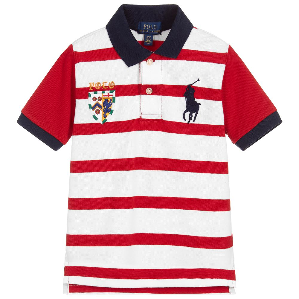 f3ce5d3a Polo Ralph Lauren - Red & White Piqué Polo Shirt | Childrensalon