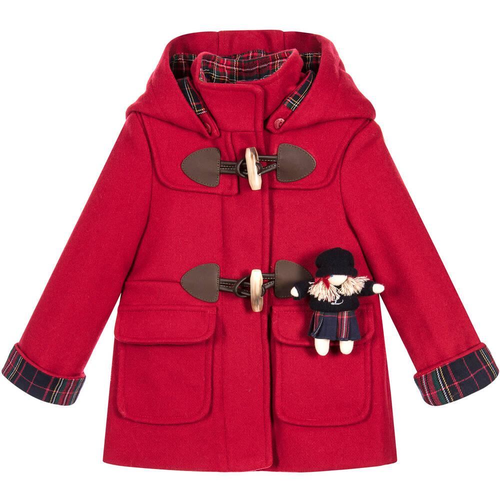 House - Girls Red Duffle Coat | Childrensalon
