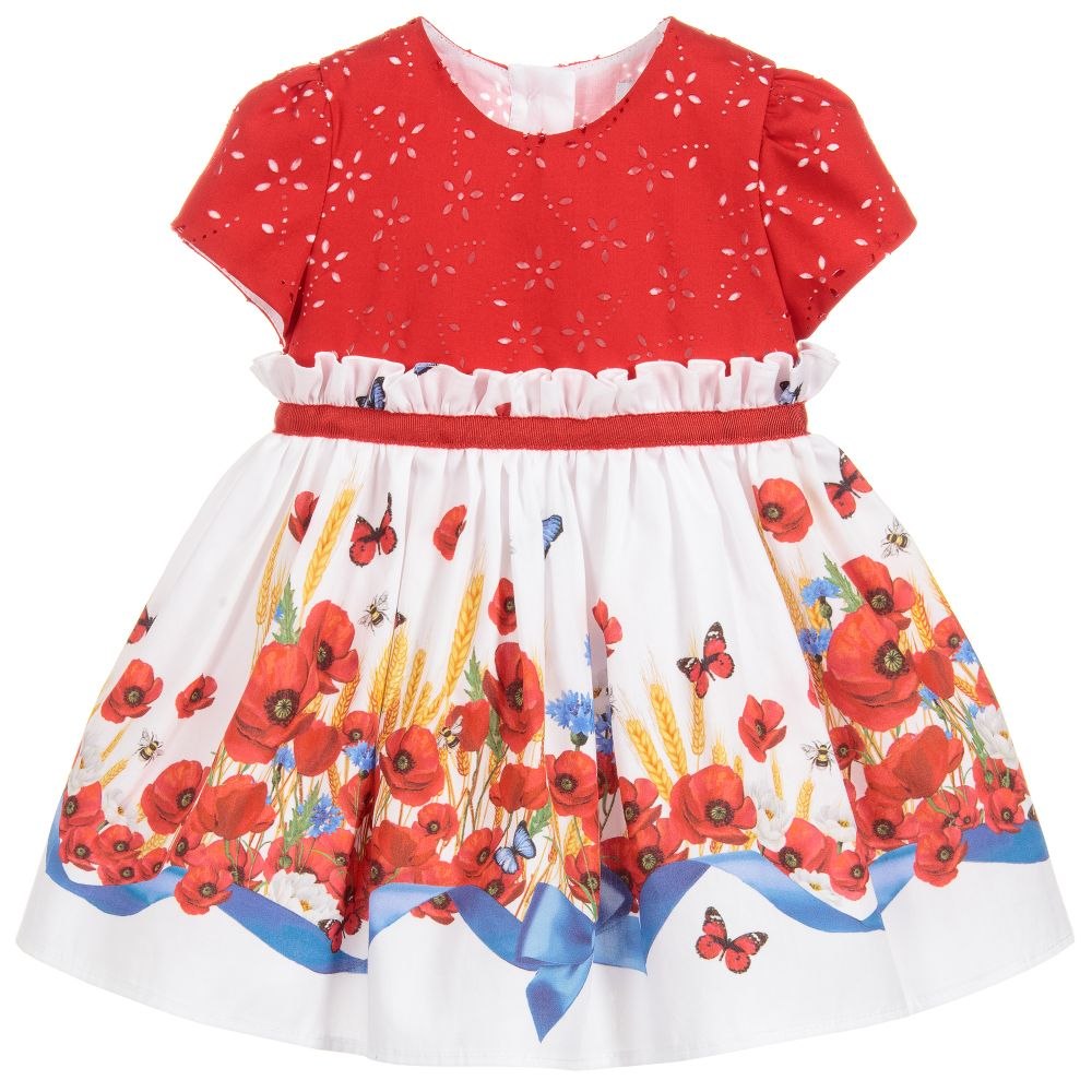 806dc9d0d Monnalisa Bebé - Girls Red Poppy Cotton Dress