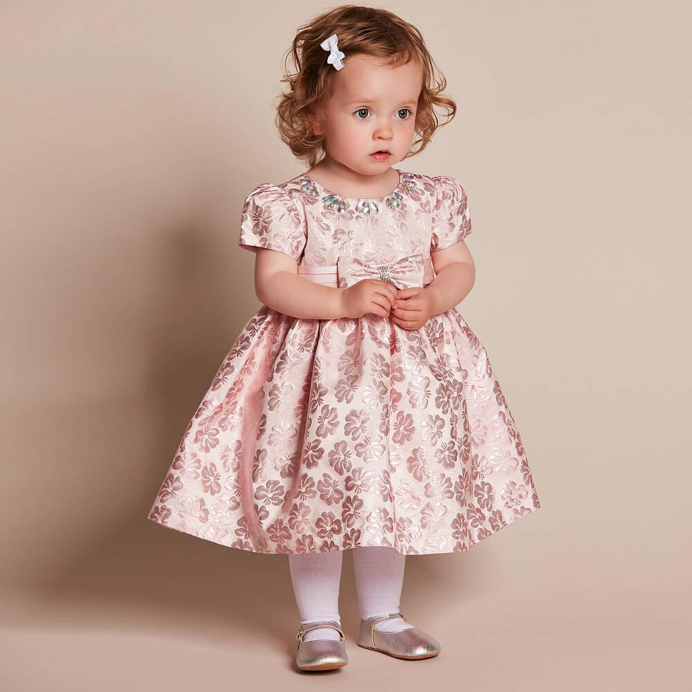 bf5fe084edb2 Romano Princess - Baby Girls Pink Brocade Dress with Diamanté ...