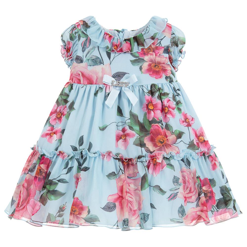 90e54901f1 Lesy - Girls Luxury Blue Silk Dress