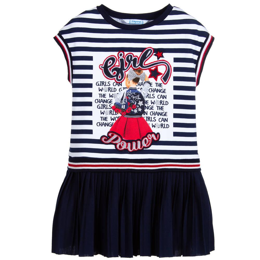 ce405d80c2fb Mayoral - Girls Blue Stripe Cotton Dress