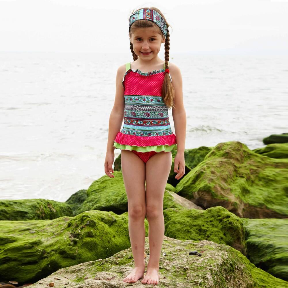 bd6f964a8c Mitty James - Frilly Floral & Spot Print Swimsuit | Childrensalon