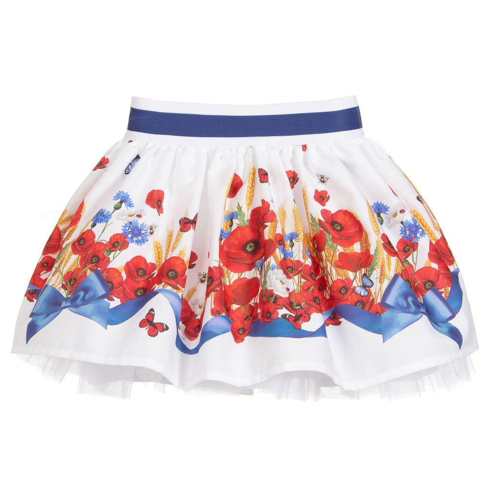 e5ccb5327 Monnalisa Bebé - White Cotton Poppy Print Skirt