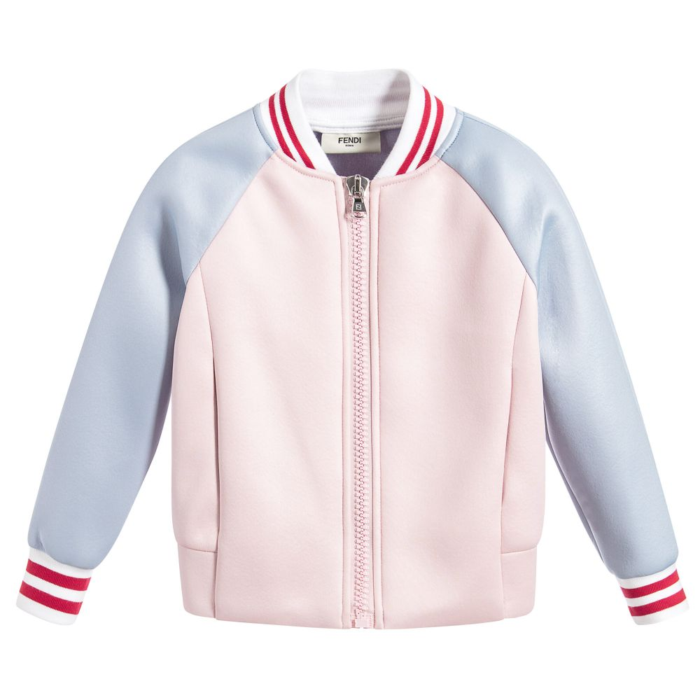Girls Pink & Blue Varsity Jacket | Childrensalon