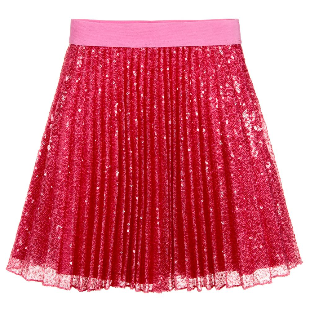7ee6bfe40881 Monnalisa Chic - Pleated Pink Sequin Skirt | Childrensalon