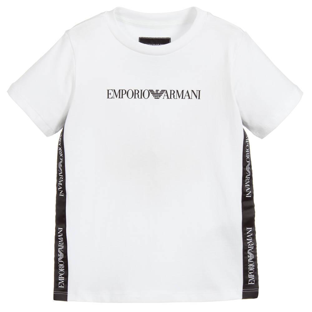668ca05e Emporio Armani - Boys White Cotton Logo T-Shirt   Childrensalon