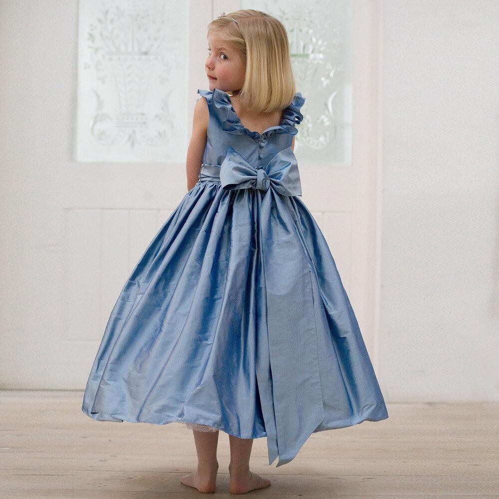 Nicki Macfarlane - Blue Silk \'Mirabelle\' Ballerina Length Dress ...