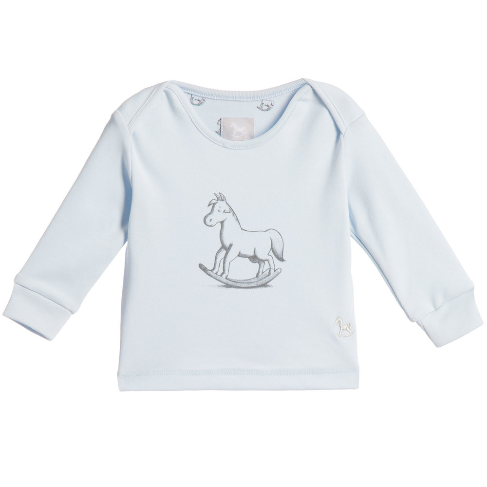 5b1ce4eb5 The Little Tailor - Baby Boys Blue Cotton Jersey Rocking Horse Top ...