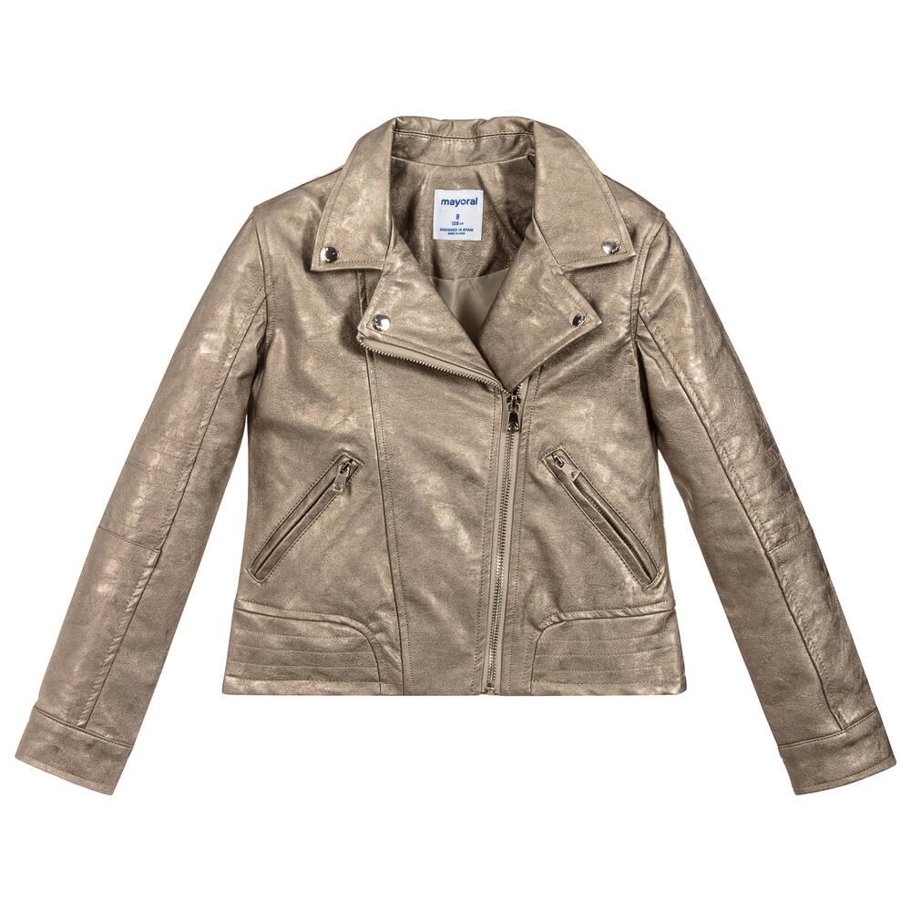 af6688e8d Mayoral - Girls Gold Faux Leather Jacket
