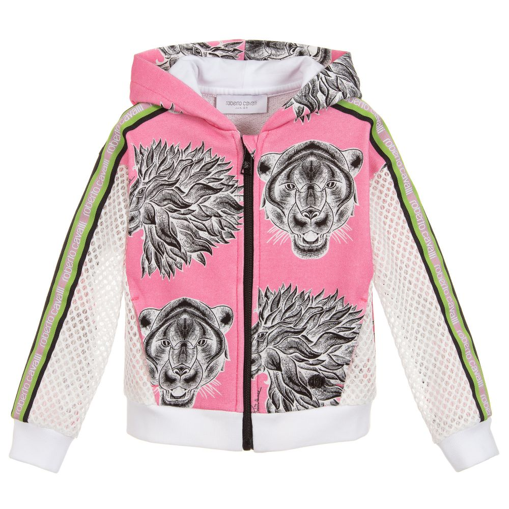 c32a709d6796 Roberto Cavalli - Pink Hooded Zip-Up Cotton Top