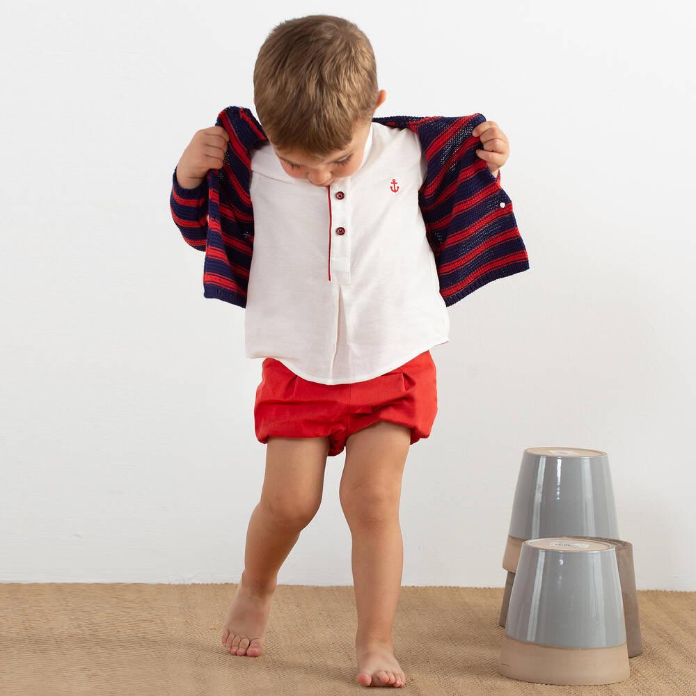 257b7e69c Pili Carrera - Boys Striped Cotton Cardigan