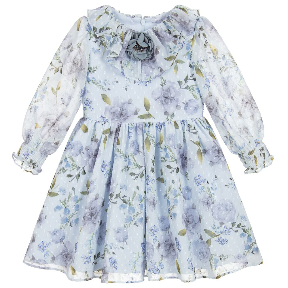 85f36a26637f Patachou - Blue Floral Chiffon Dress | Childrensalon