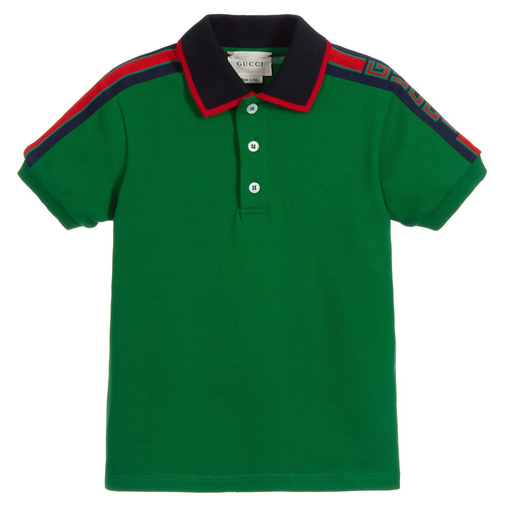 90f5dd3186bd Gucci - Boys Green Cotton Polo Shirt