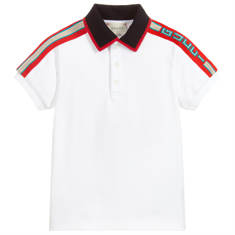 023523597 Gucci - Boys White Cotton Polo Shirt