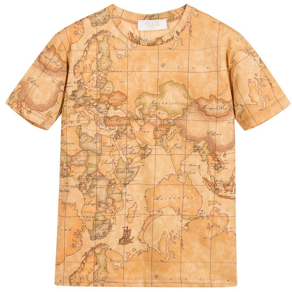 Alviero Martini - Boys Dark Geo Map Print T-Shirt | Childrensalon