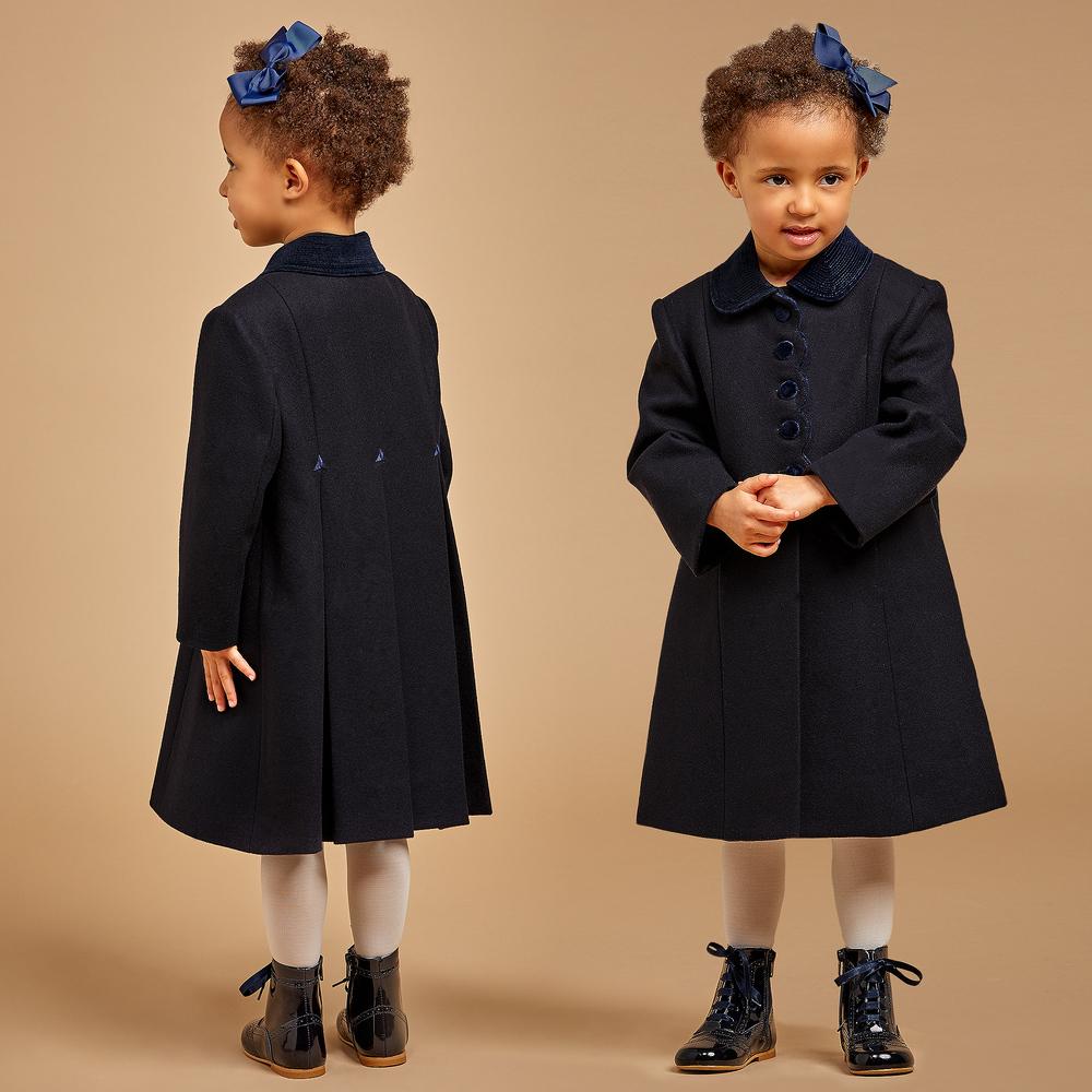 Perfect Ancar - Girls Navy Blue Wool Coat | Childrensalon KB53