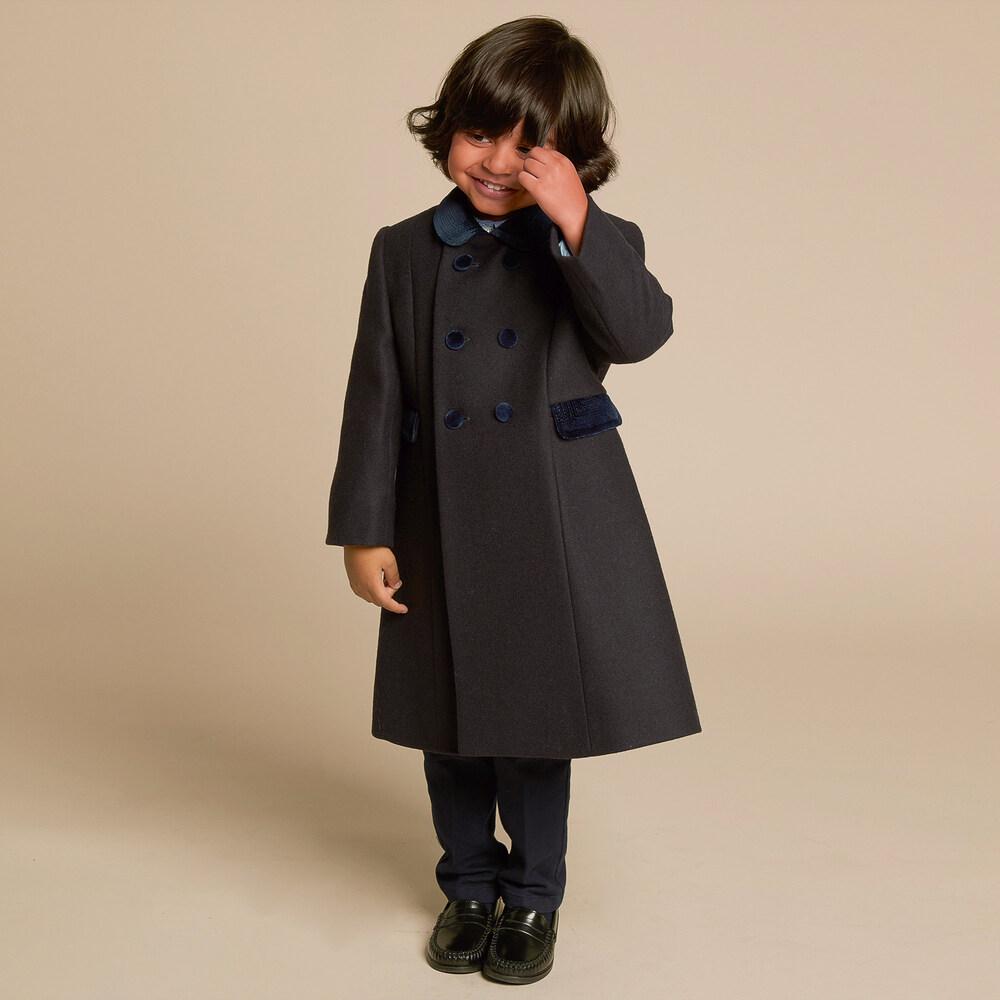 Perfect Ancar - Navy Blue Wool Coat | Childrensalon TV11