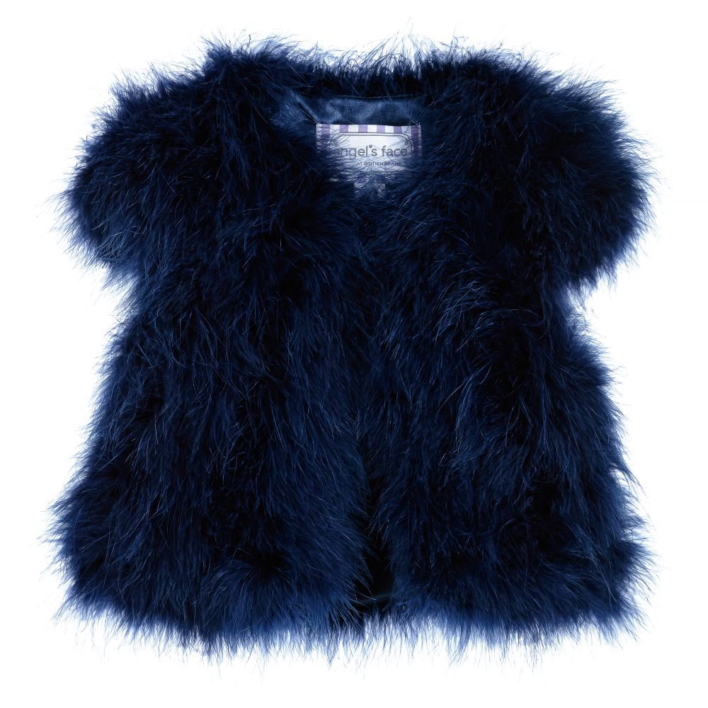 Angel's Face - Girls Navy Blue Feather Shrug  | Childrensalon