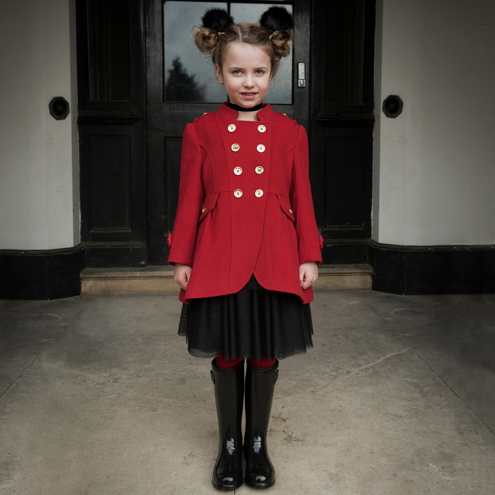 1cb8a423a85 Girls Red Military Coat