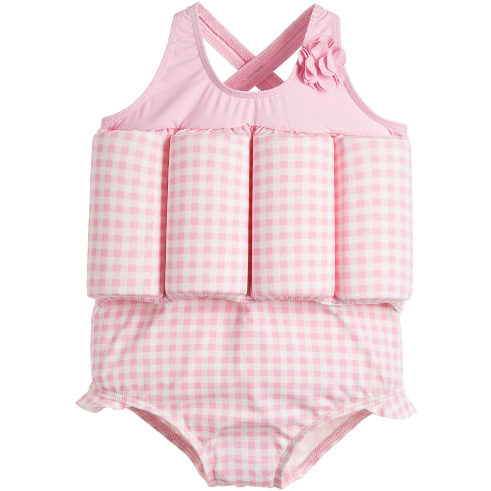 Archimede - Girls Pink Check Float Suit | Childrensalon