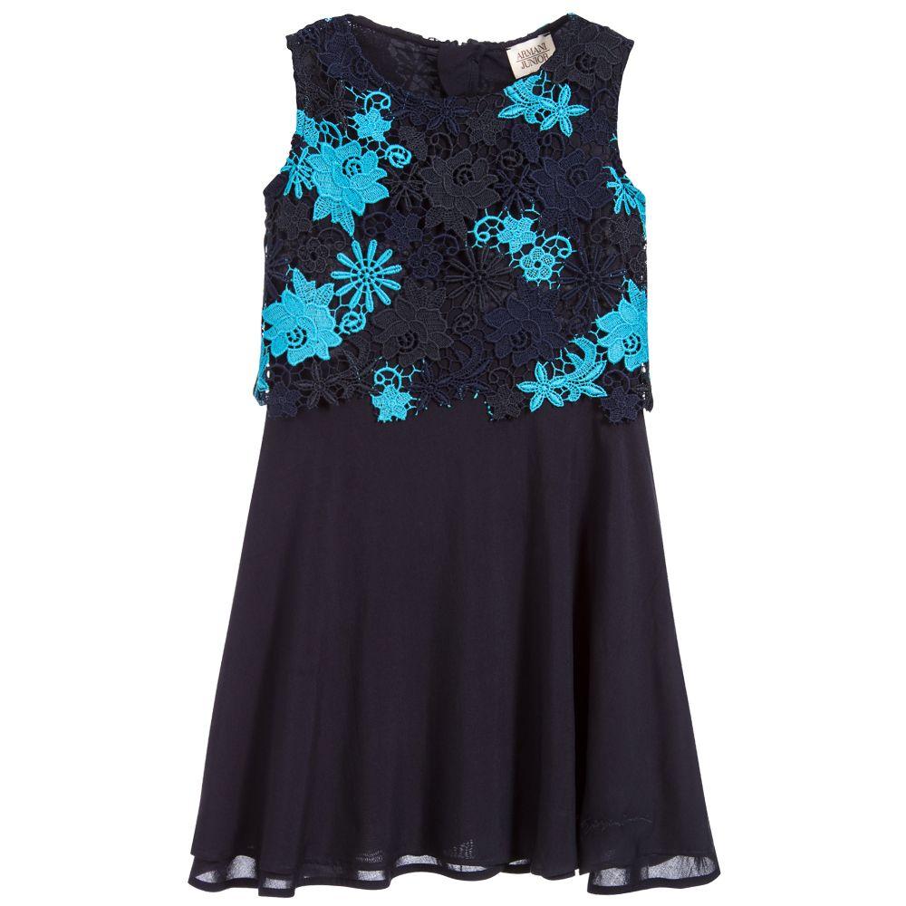 Armani Junior Girls Blue Lace Dress Childrensalon
