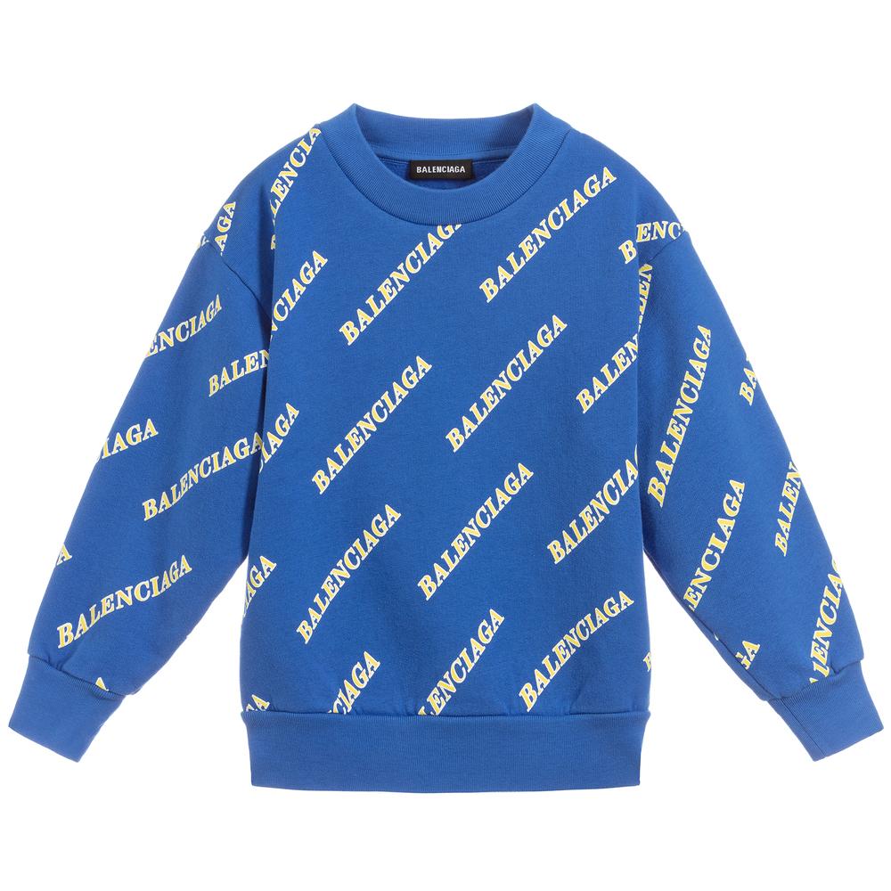 Blue Cotton Logo Sweatshirt