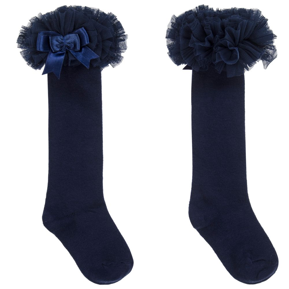 Girls Blue Cotton Frill Socks