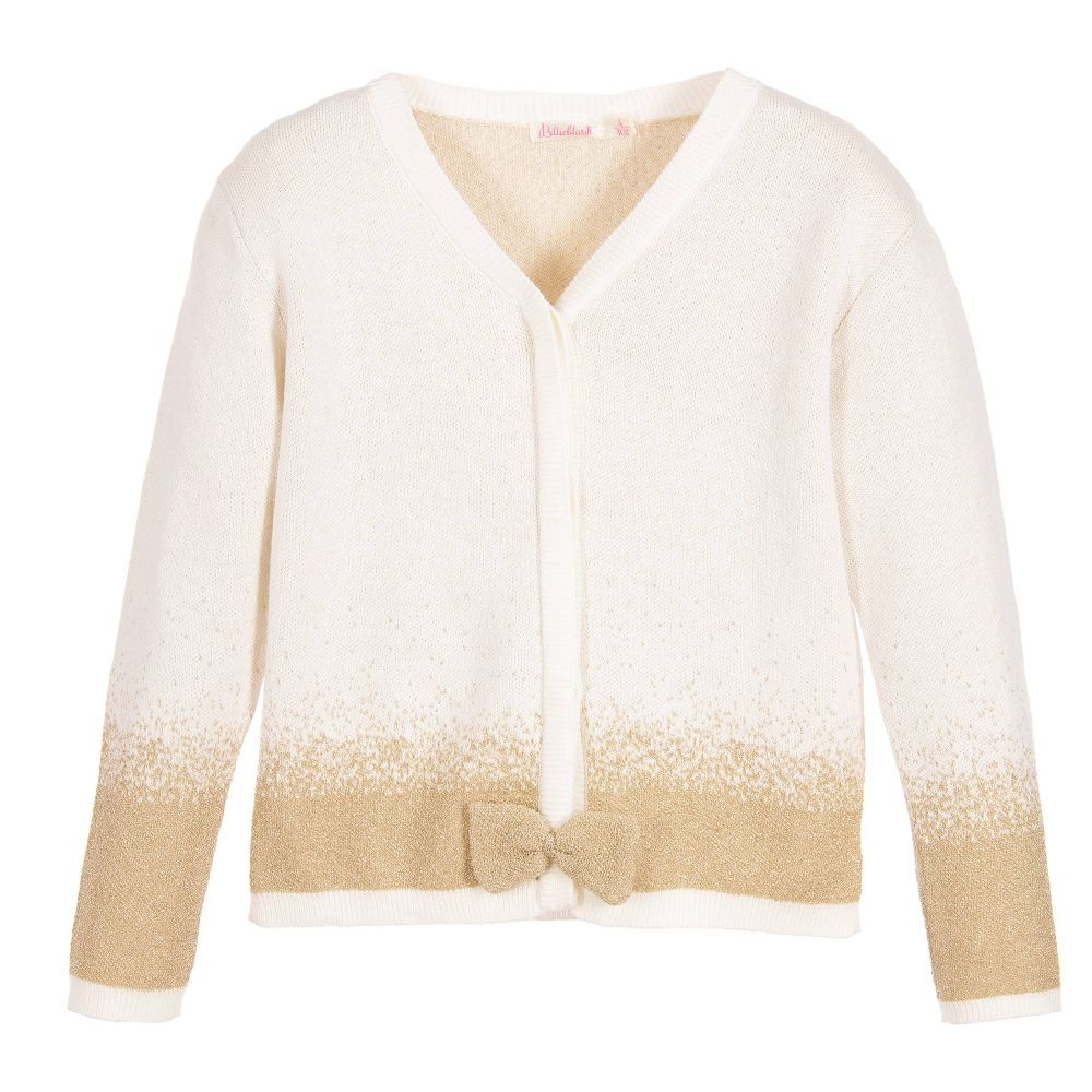 Girls Ivory & Gold Cardigan | Childrensalon