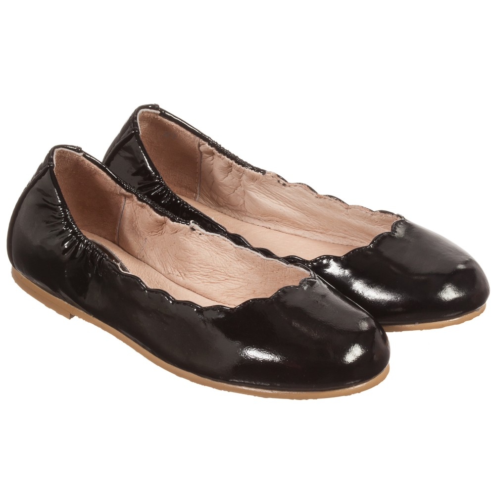 Bloch - Girls Black Patent Leather 'Scallop' Ballerina Shoes | Childrensalon