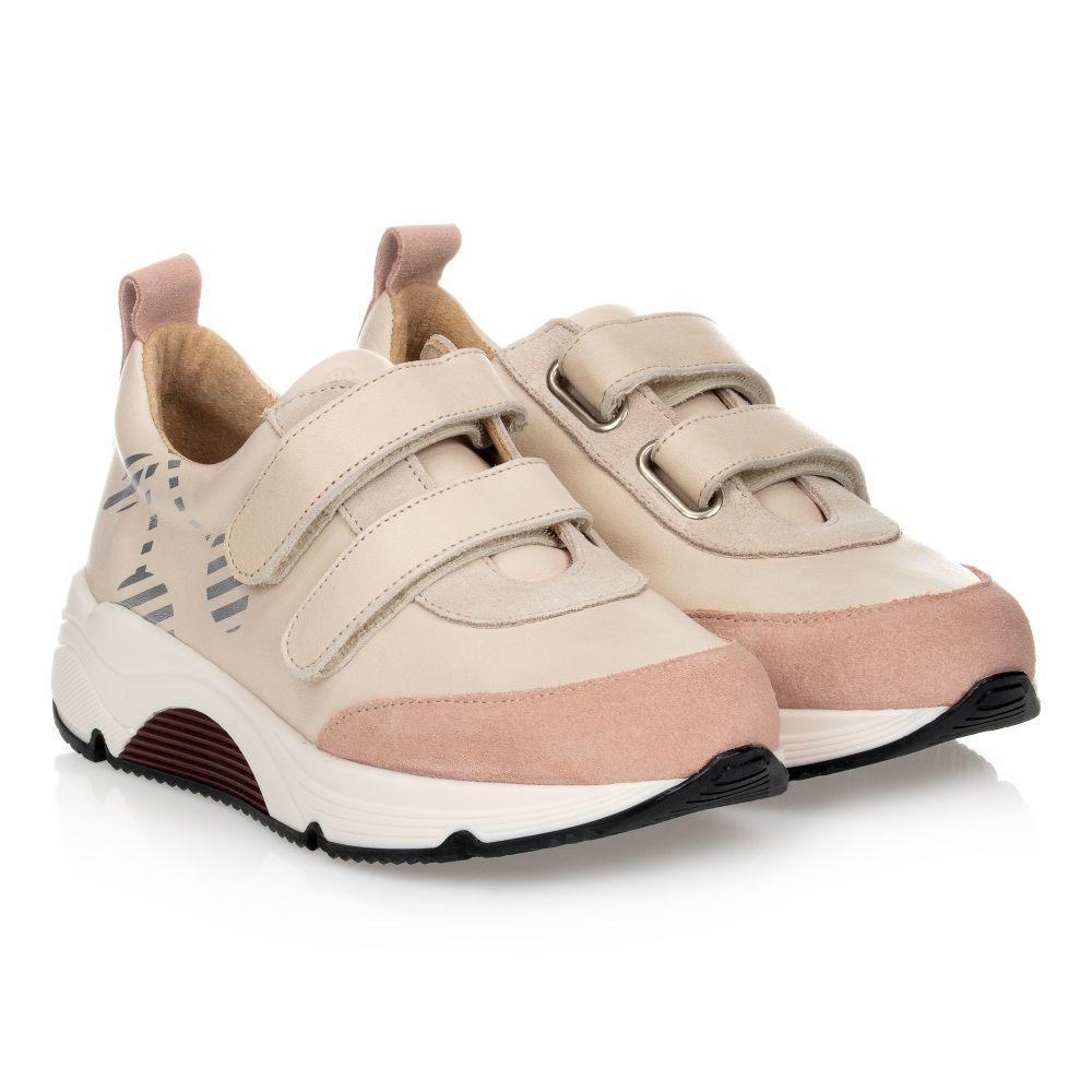 Pink \u0026 Beige Leather Trainers
