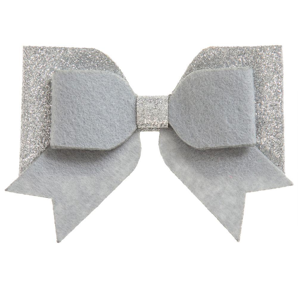 Bowtique London - Grey Glitter Bow Clip (9cm) | Childrensalon