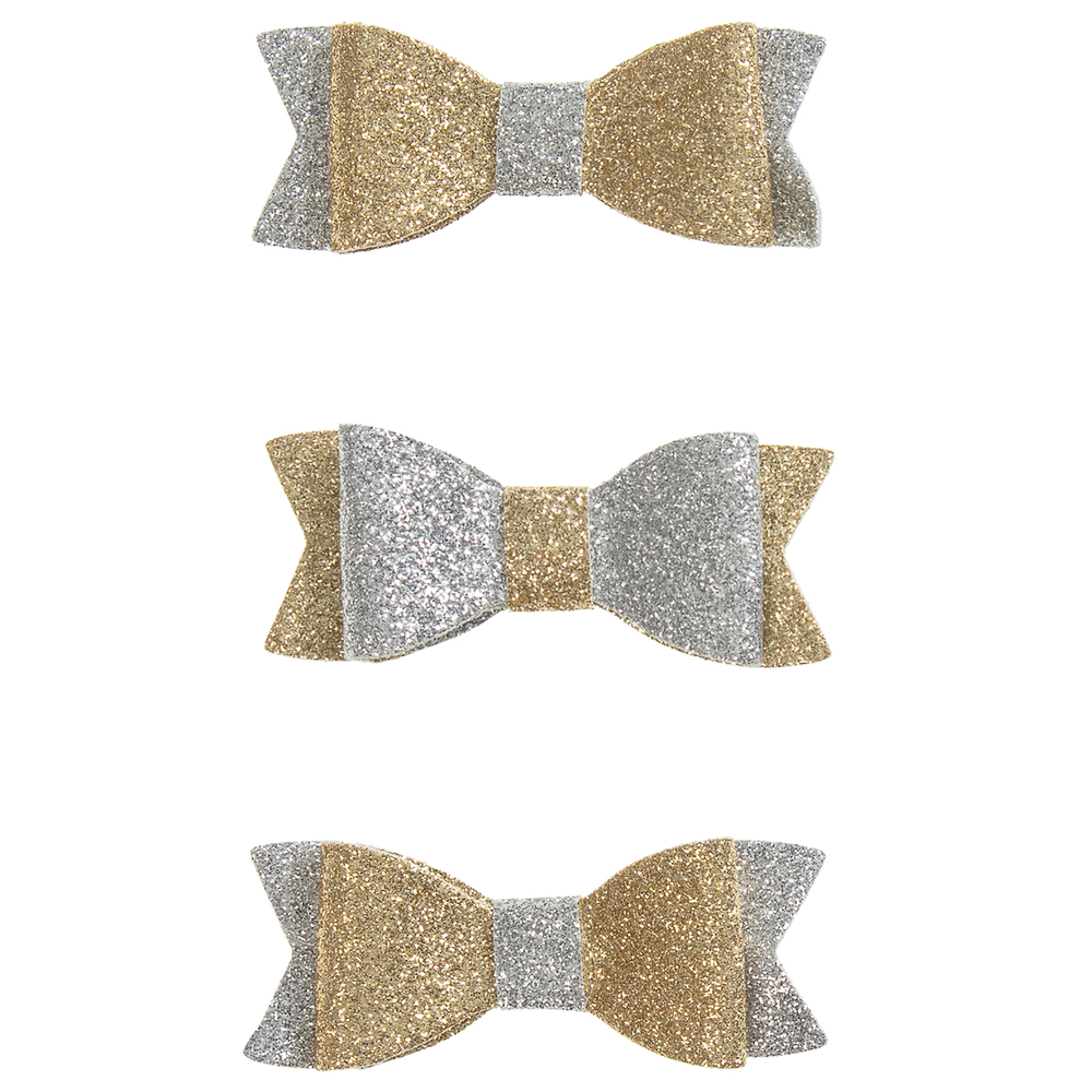 Bowtique London - Pack Of 3 Glitter Bows (6.5cm) | Childrensalon