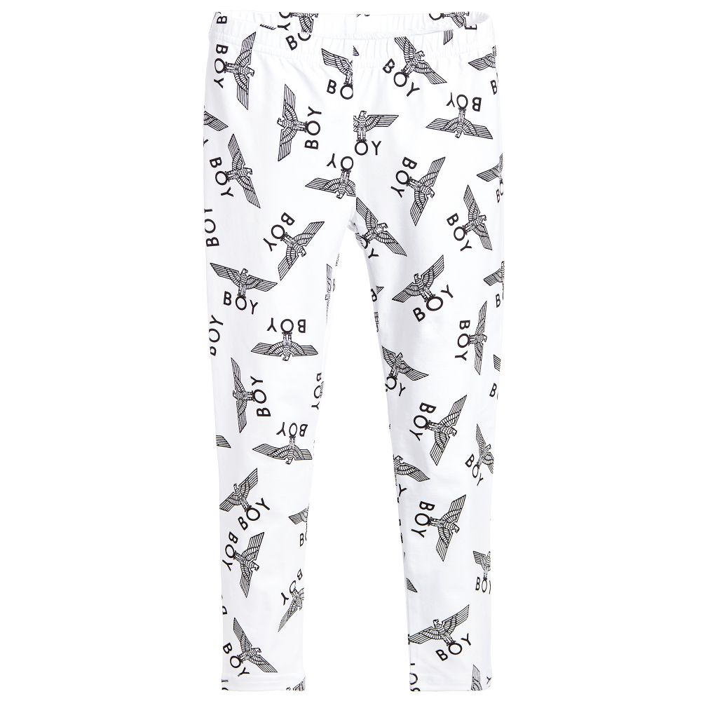 BOY London - White Logo Printed Leggings | Childrensalon