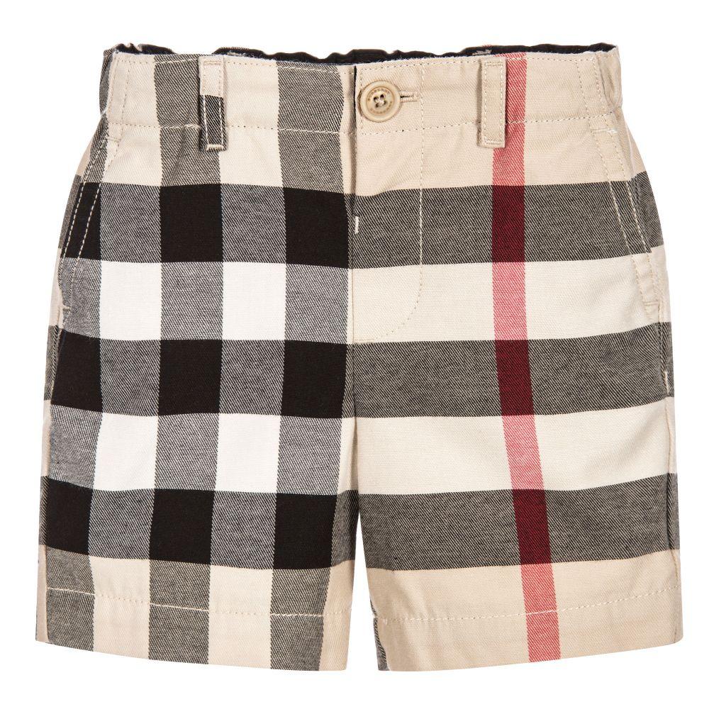 Burberry - Boys Beige Check Shorts | Childrensalon