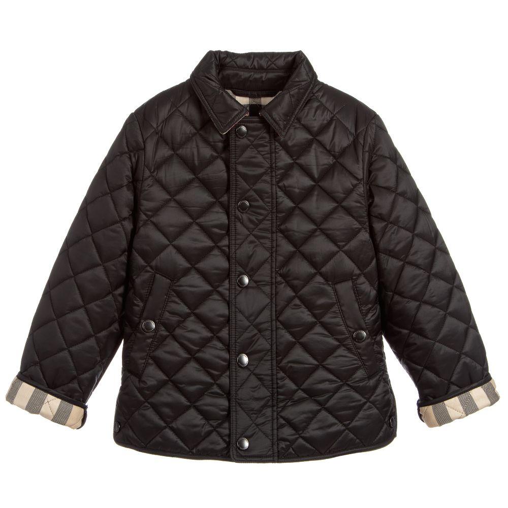 Boys Black Quilted Jacket | Childrensalon