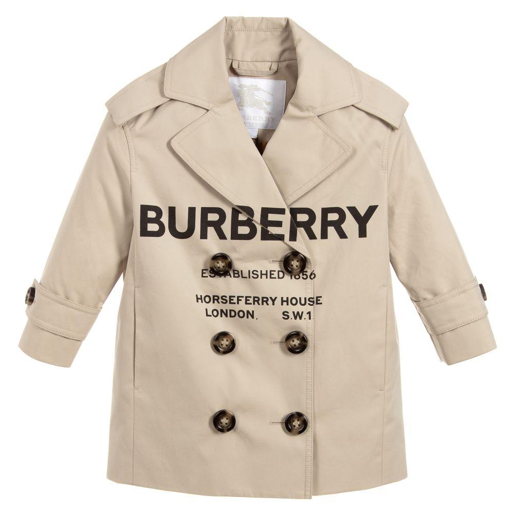 8984c6a92 Burberry - Girls Cotton Logo Trench Coat | Childrensalon