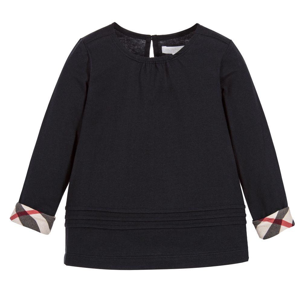 Burberry - Girls Navy Blue T-Shirt  | Childrensalon