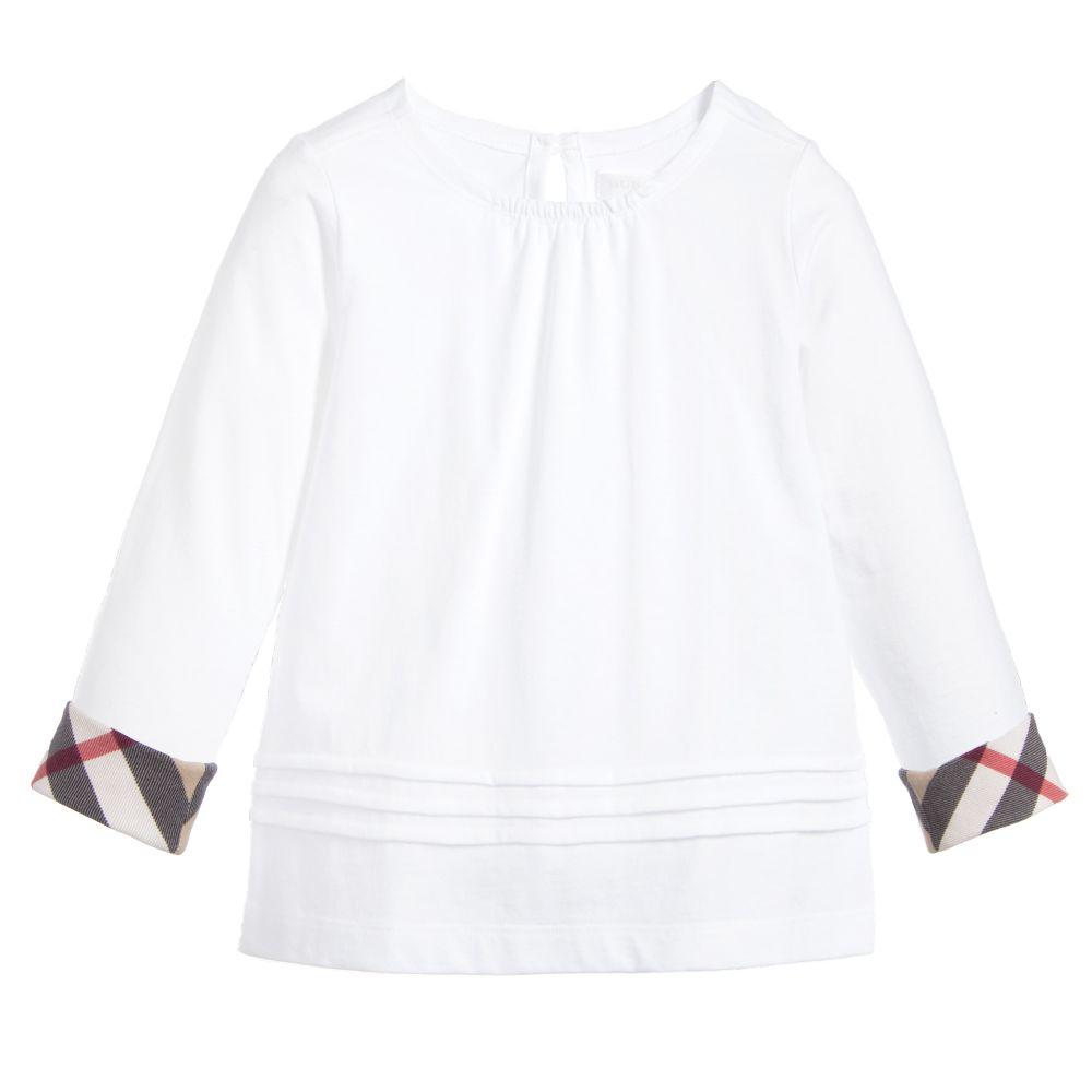 Burberry - Girls White T-Shirt   Childrensalon