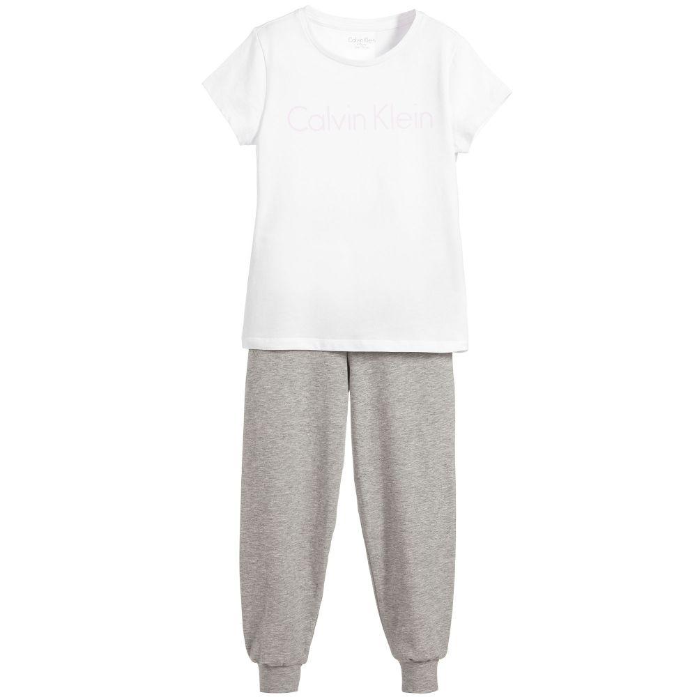 Calvin Klein - Girls White & Grey Pyjamas | Childrensalon