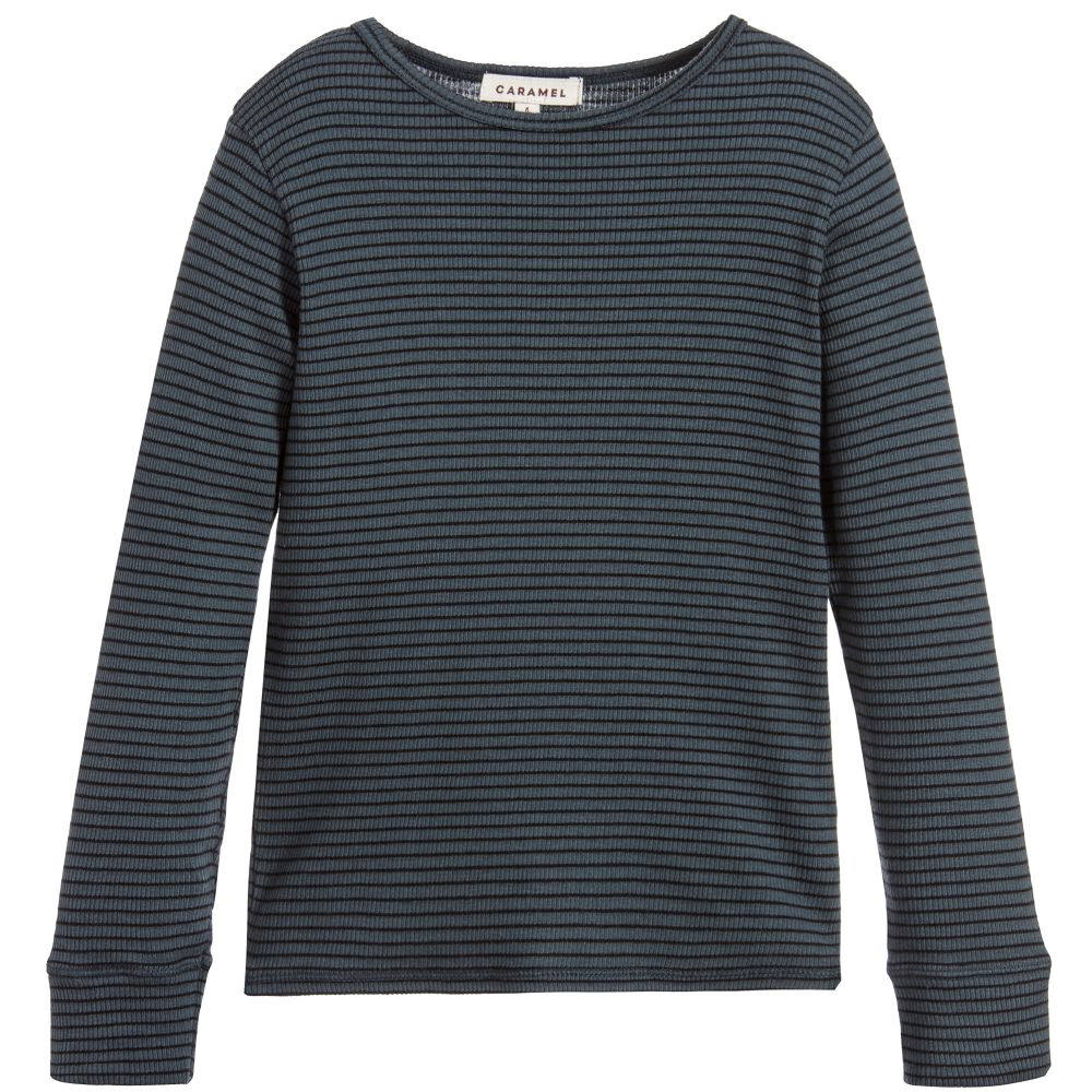 Caramel - Boys Petrol Blue Striped Top | Childrensalon