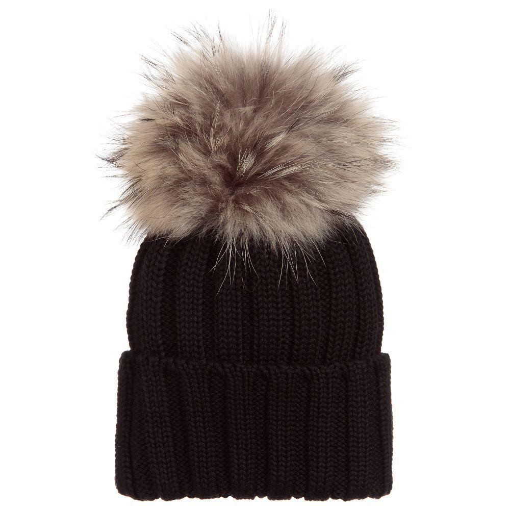 7cc038c4281246 Black Wool Hat With Fur Pom Pom